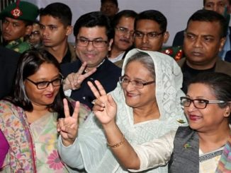 Sheikh Haseena showing sign of victory