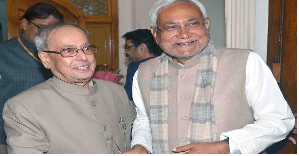 Nitish Kumar with Former President Pranab Mukherjee in Patna